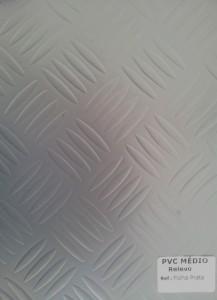 PVC Médio Relevo Folha Prata