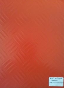 PVC Médio Relevo Folha Vermelho